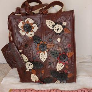 Leaders in Leather floral brown tote handbag